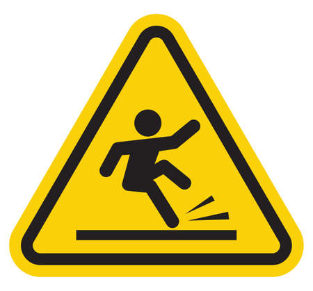 is wet: Wet floor warning sign Illustration