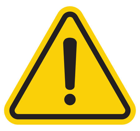 construction icon: Hazard warning attention sign with exclamation mark symbol