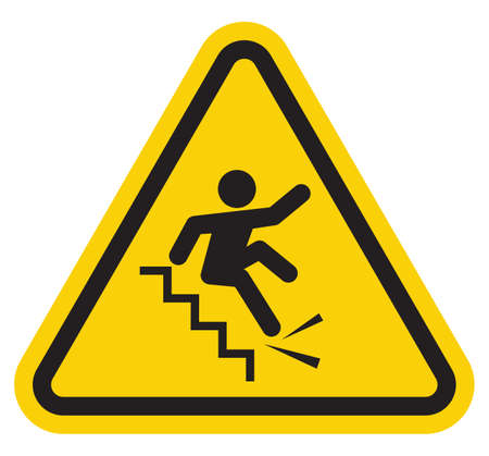 to stumble: warning falling off the stairs sign