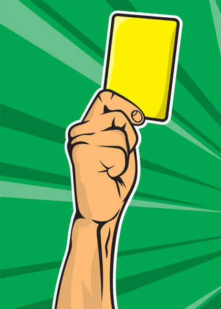 Soccer referee hand with yellow card Vector
