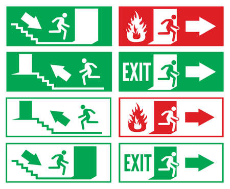 salida de emergencia: Señalización para salida de emergencia Vectores