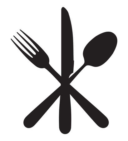 stainless steel kitchen: Cutlery - knife, fork and spoon Illustration