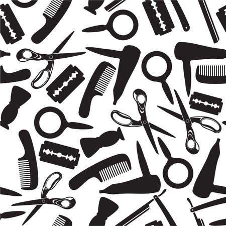 peigne et ciseaux: coiffure salon de fond