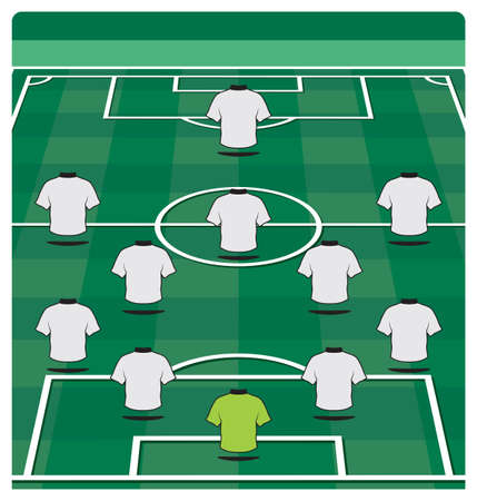 Calcio disposizione in campo con la formazione Vettoriali