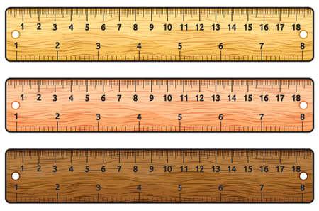 Conjunto de reglas de madera en blanco