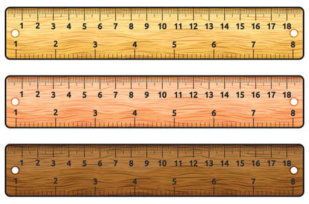 rule line: Set of wooden rulers on white