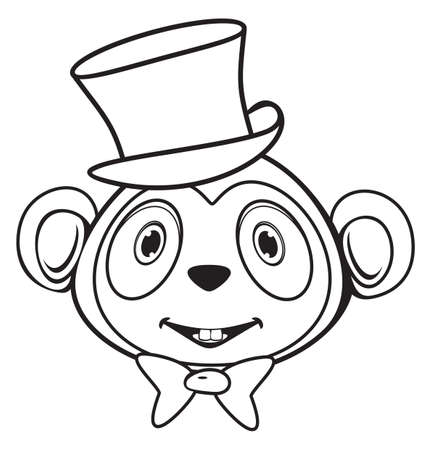 Cute monkey with hat and bow black and white Stock Vector - 18158771