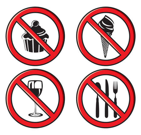 No food signs Vector