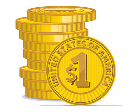 Golden coins with dollar sign Stock Vector - 18158745