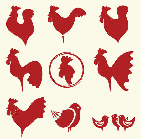 rooster at dawn: roosters collection Illustration