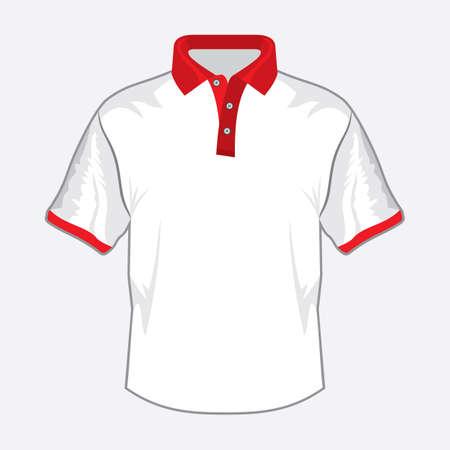 teen golf: Blanco polo shirt de dise�o con cuello rojo