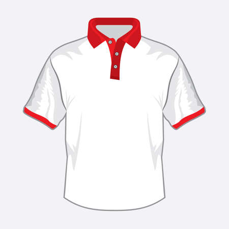 White polo shirt design with red collar Stock Vector - 18158742