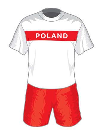 uniforme de futbol: Polonia fútbol uniforme Vectores