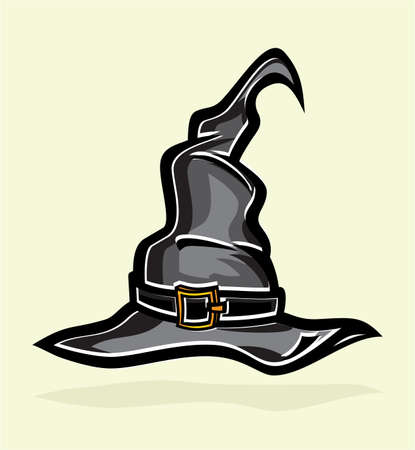 tall hat: illustration of tall witch hat on abstract background