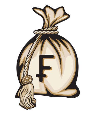 frank szwajcarski: Worek pieniÄ™dzy z ilustracji znak franka szwajcarskiego