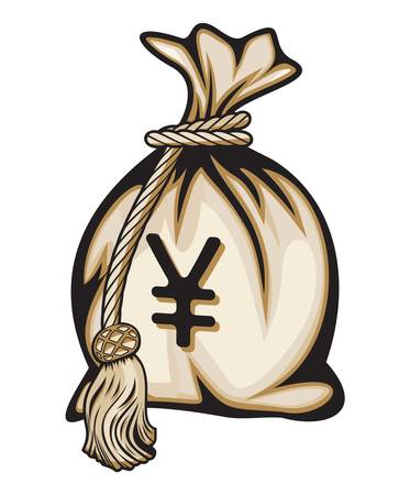 yen sign: Money bag with yen sign vector illustration Illustration