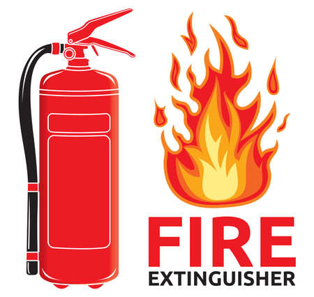 bombero de rojo: Extintor signo
