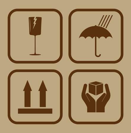 the handle: Símbolo frágil en el fondo de cartón Vectores