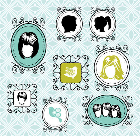 vintage frames on the wall Stock Vector - 18245568