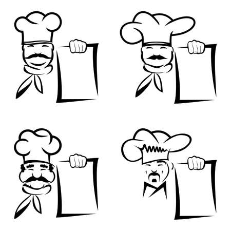 chef with board menu Vector