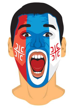 soccer fan: Serbia fan face