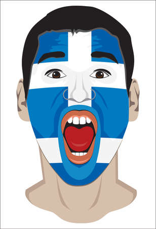 greece flag: Greek fan face