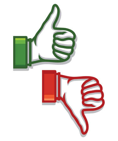 thumbs down: Thumb up and down icons Illustration