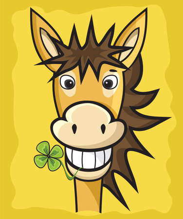ears donkey: donkey with clover Illustration