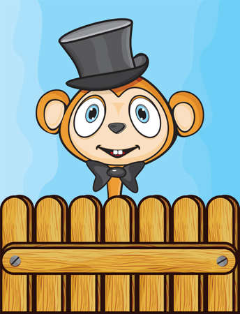 Cute monkey with hat and bow Stock Vector - 18245566