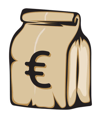 Paper money bag with euro sign Stock Vector - 18245659