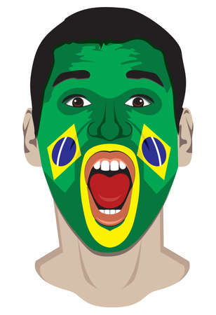 Brazil fan face Vector