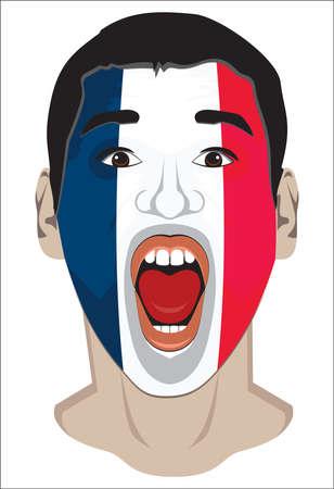 soccer fan: France fan face