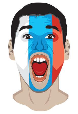 soccer fan: Russia fan face Illustration