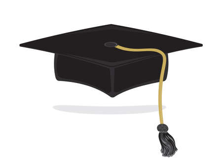 Graduation cap with golden tassel, isolated on white background