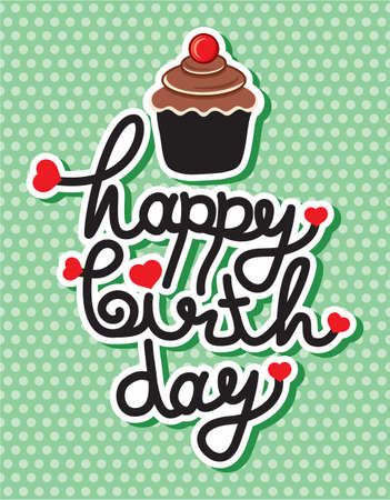 cute happy birthday card with cupcake Stock Vector - 18245630