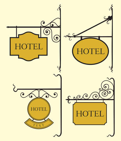 Set of hotel sign board Stock Vector - 18245689