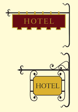 key signature: Set of hotel sign board
