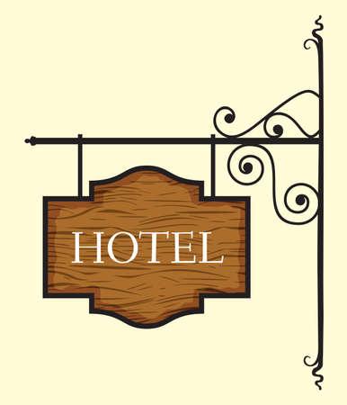 door sign: Wooden hotel door sign
