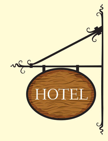 Wooden hotel door sign Vector