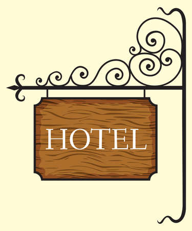 old wooden door: Wooden hotel door sign