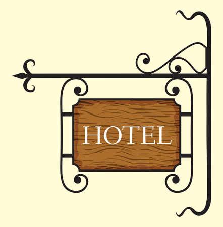hotel sign: Wooden hotel door sign