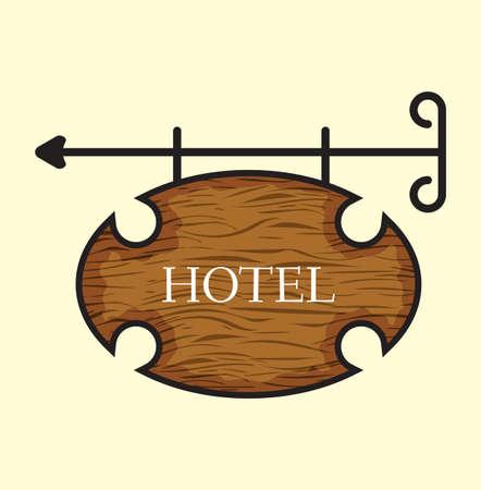 Wooden hotel door sign Stock Vector - 18332897