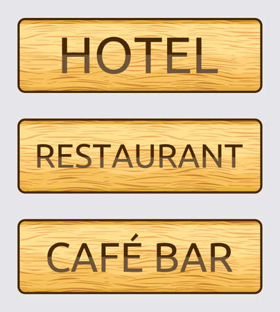 Wooden hotel , restaurant and cafe bar door signs Vector