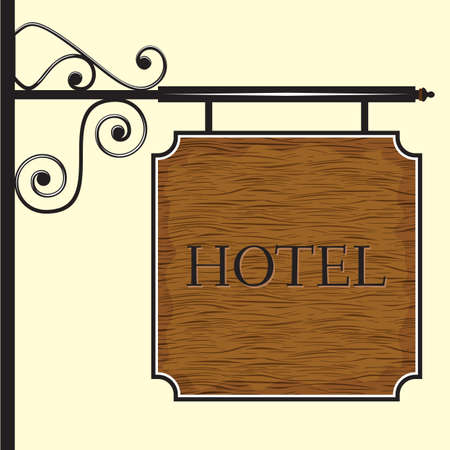key signature: Wooden hotel door sign