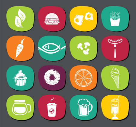 Set of food labels Vector