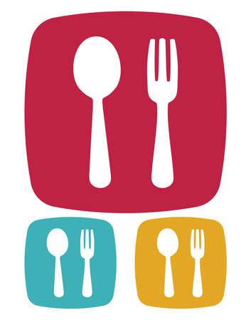 Tenedor y cuchara icono - muestra del restaurante Ilustración de vector