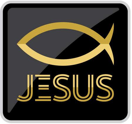 Jesús símbolo del pez Ilustración de vector