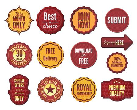 membership: Set of vector badges and stickers