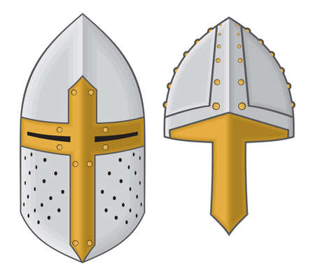 caballero medieval: elementos medievales caballero Vectores