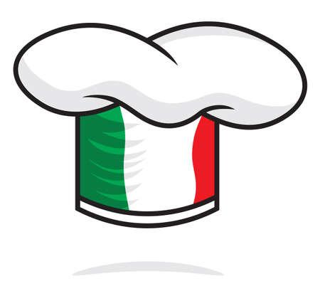 bandiera italiana: Chef italiano cappello Vettoriali